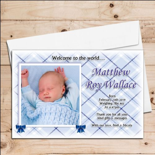 10 New Baby Boy Birth Announcement Thank You PHOTO cards N17